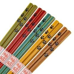 貓貓肉球圖案 木製 筷子 (5對入)