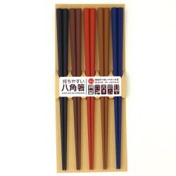 八角筷子 (5色入) [Dark Color]