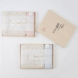 今治謹製 波浪紋織毛巾 連木盒 [1×面巾, 1×浴巾]