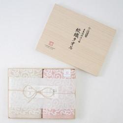 今治謹製 波浪紋織毛巾 連木盒 [2×面巾]